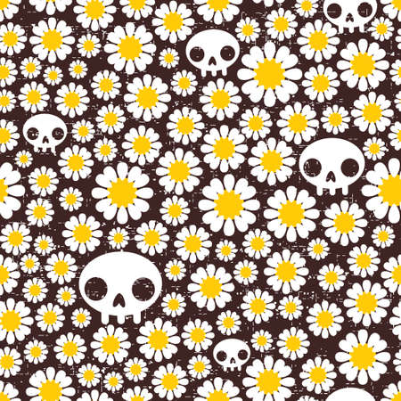 Camomile and skull seamless pattern. Vector