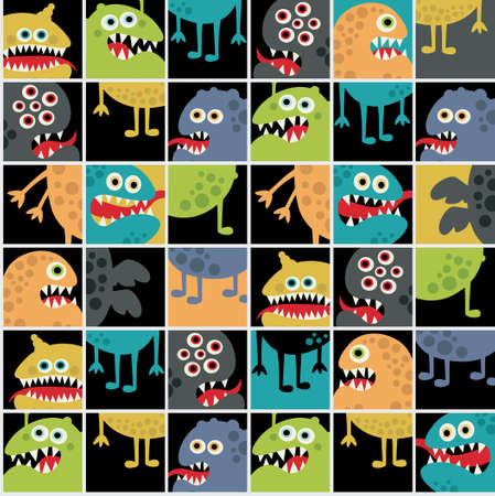 Cute monsters seamless texture with windows. Stock Vector - 14753474