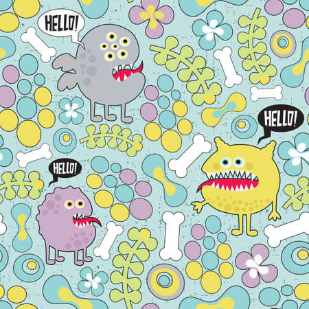 Cute monsters microbes seamless texture with bones and flowers.  Vector