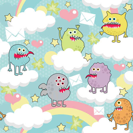 Cute monsters on clouds seamless texture with envelopes.  Vector