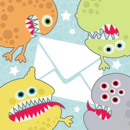 Virus monsters with letter banner. Vector