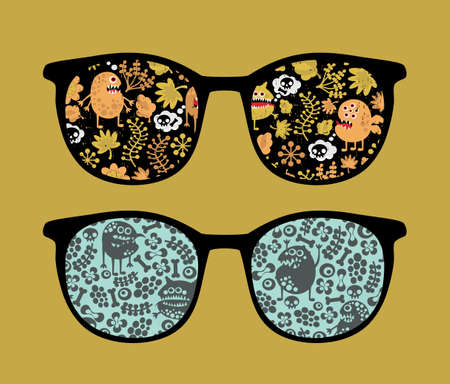 Retro sunglasses with plant monsters reflection in it.  Vector