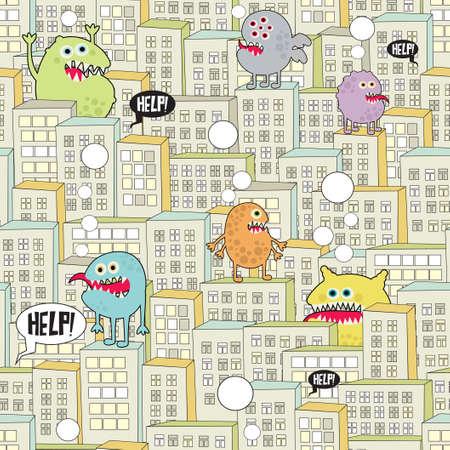 Monsters in de stad naadloze textuur. Stock Illustratie