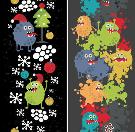 Two vertical seamless patterns with monsters, paint and snow. Stock Vector - 14841082