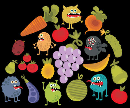 dysentery: Vegetables and fruits with microbes. Illustration