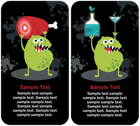 Cute monster microbe and meat with drink.  Vector