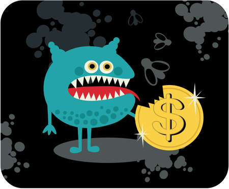 Cute monster with dollar coin   Vector