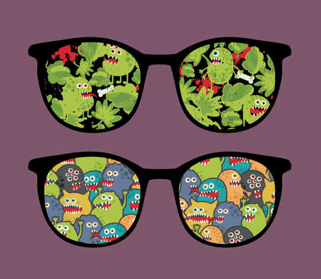 Retro sunglasses with many monsters reflection in it   Stock Vector - 14841109