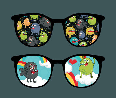 Retro sunglasses with monster sky reflection in it   Vector