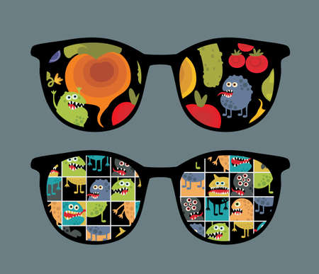 Retro sunglasses with monster and vegetables reflection in it  Vector