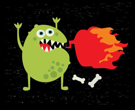 Monster with fire illustration  Vector