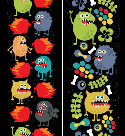 Two vertical seamless patterns with monsters, plants and fire   Vector