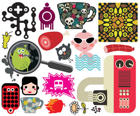 Mix of different images and icons  vol 59 Stock Vector - 14841112