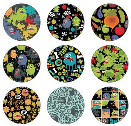 crazy frog: Decoration with monster patterns illustration
