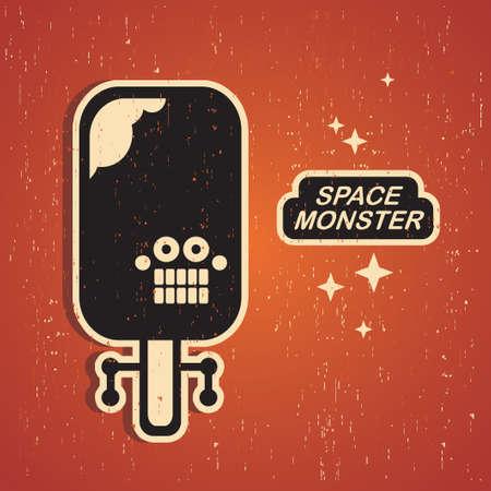 pattern monster: Mostro Vintage. Retro illustrazione del robot