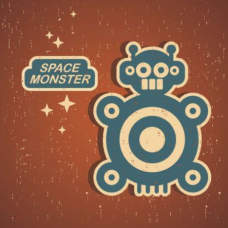 retro robot: Vintage monster. Retro robot illustration Illustration
