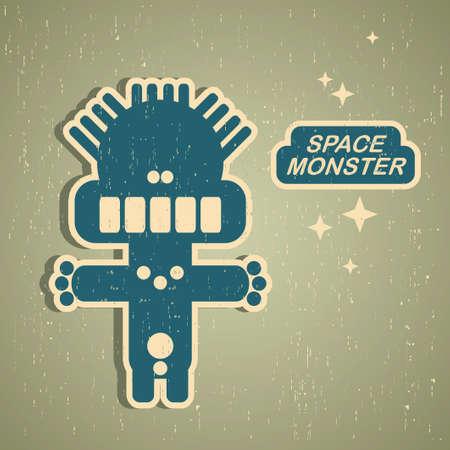 빈티지 괴물. 레트로 로봇 그림 일러스트