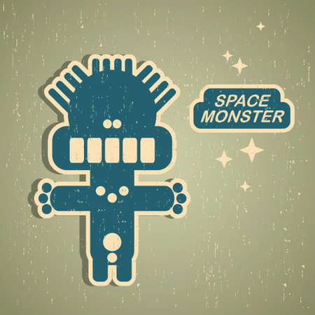 crazy: Vintage monster. Retro robot illustration Illustration