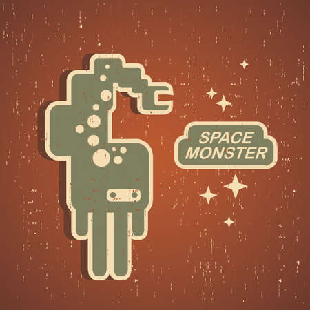 Vintage monster. Retro robot illustration Vector
