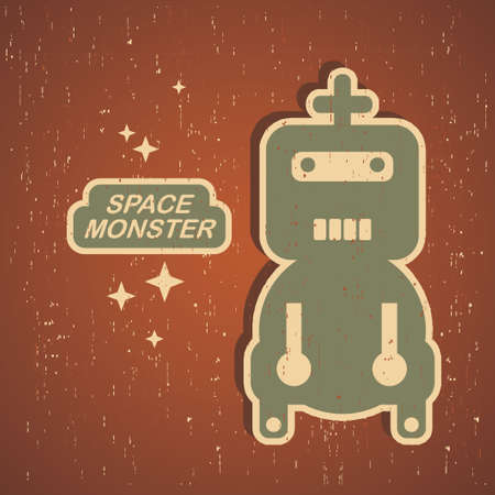 Vintage monster  Retro robot illustration in vector  Vector