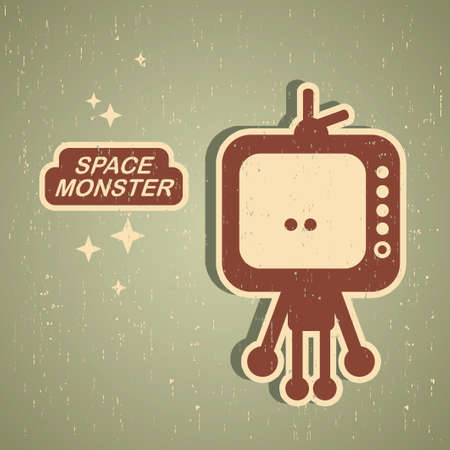 space television: Vintage monster  Retro robot illustration in vector