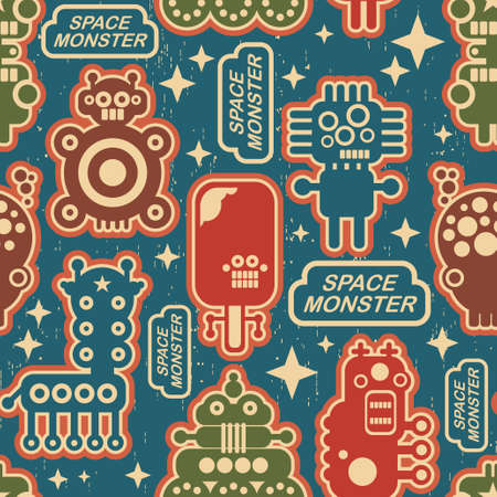 Vintage seamless texture with monsters and robots. Stock Vector - 14984841