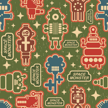 Vintage seamless texture with monsters and robots Vector