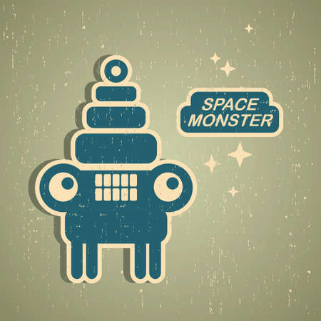 Vintage monster. Retro robot illustration in vector. Vector