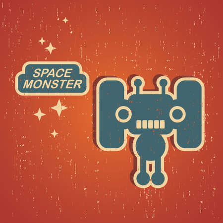 space robot: Vintage monster. Retro robot illustration Illustration