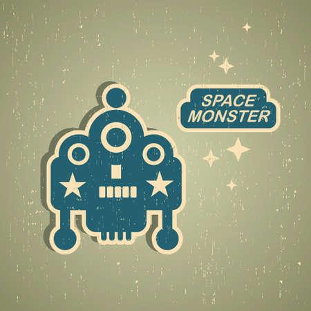 Vintage monster. Retro robot illustration Stock Vector - 15017022