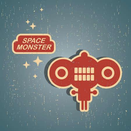 Vintage monster. Retro robot illustration  イラスト・ベクター素材