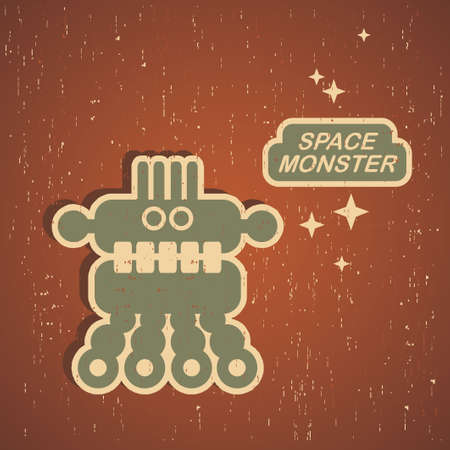 Vintage monster. Retro robot illustration Stock Vector - 15017028