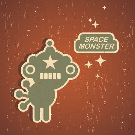 pattern monster: Vintage monster. Retro robot illustration Illustration