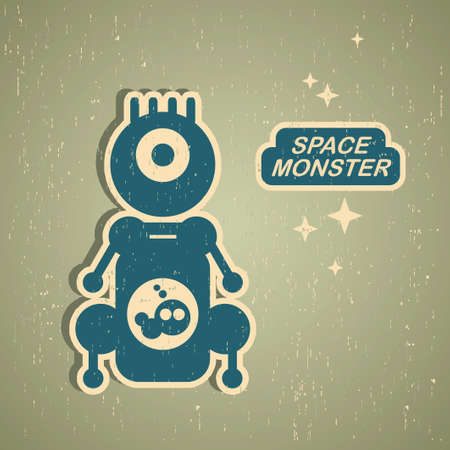 pattern monster: Vintage monster. Retro robot illustration