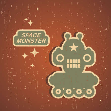 Vintage monster  Retro robot illustration Vector