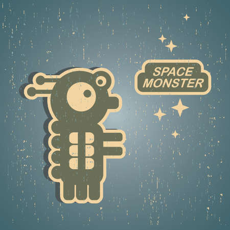 pattern monster: Vintage monster  Retro robot illustration