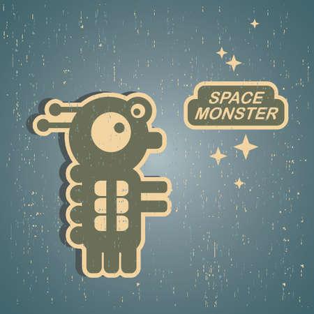 alien robot: Vintage monster  Retro robot illustration