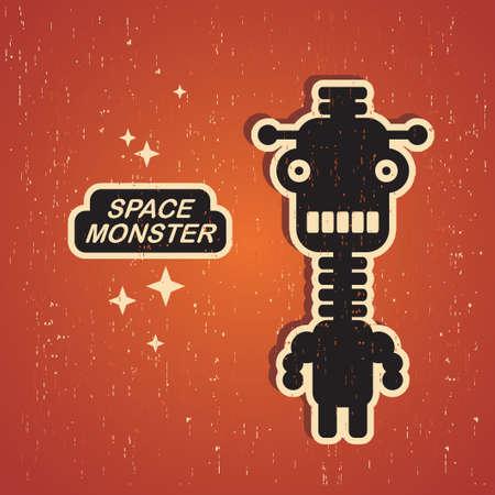 빈티지 괴물 레트로 로봇 그림 일러스트