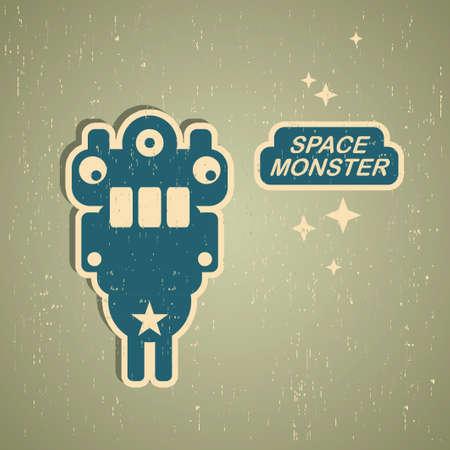 space robot: Vintage monster  Retro robot illustration