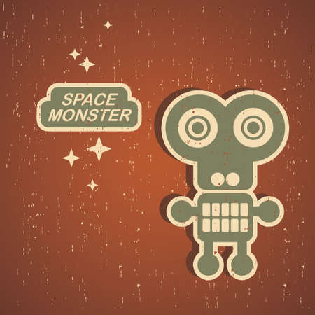 Vintage monster. Retro robot  Vector