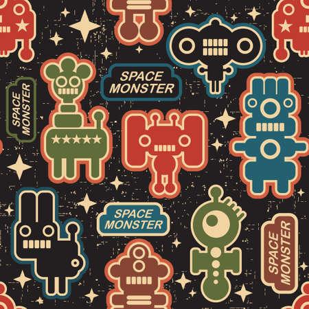 pattern monster: Vintage seamless texture di mostri e robot. Vettoriali