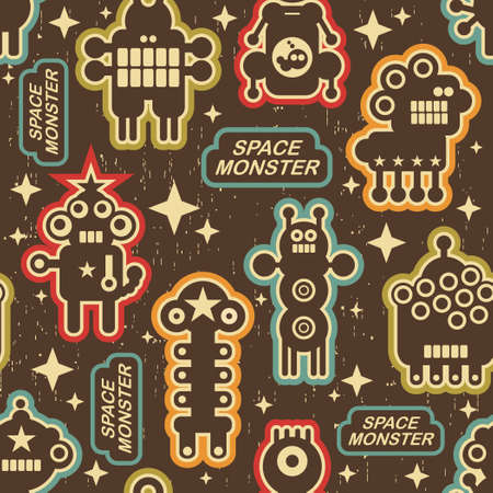 alien robot: Vintage seamless texture with monsters and robots.