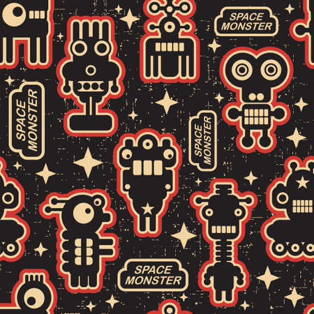 viewfinderchallenge1: Vintage seamless texture with monsters and robots.