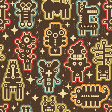 Vintage seamless texture with monsters and robots. Stock Vector - 15135429