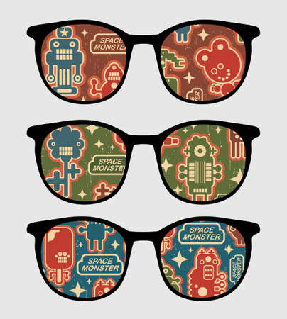 Eyeglasses with retro robots reflection in it.  Vector