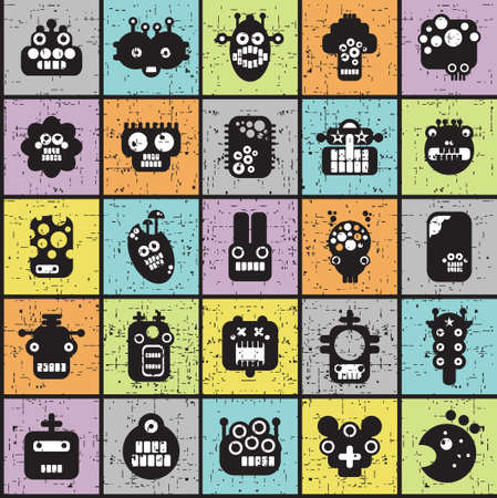 Robot and monsters cell seamless pattern in retro style. Vector