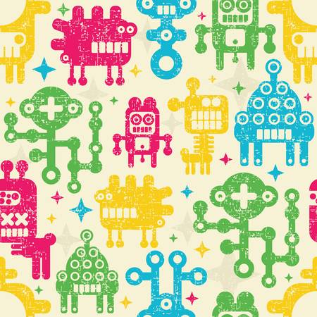 Vintage seamless texture with monsters and robots.  Vector