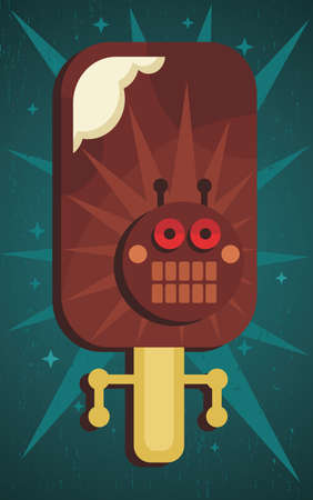 Ice-cream monster  Retro robot illustration Vector