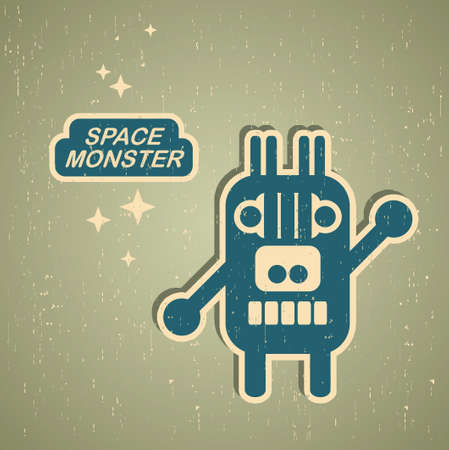 Vintage monster. Retro robot illustration Stock Vector - 15500136