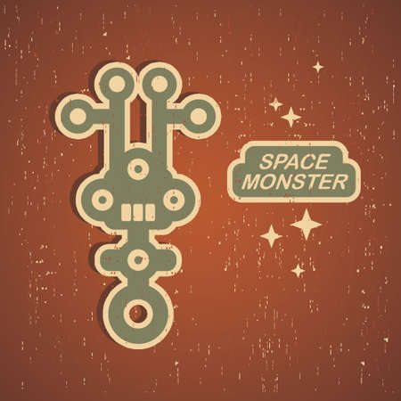 Vintage monster. Retro robot illustration Stock Vector - 15222769